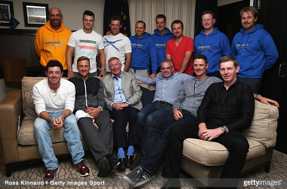 Sir Alex Ferguson with the European Ryder Cup team