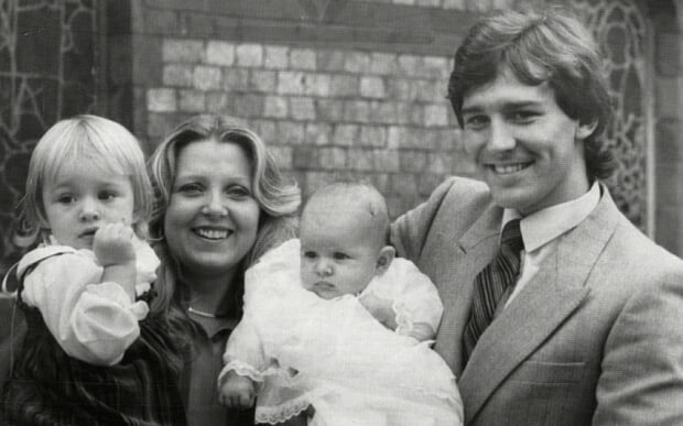 Footballer Bryan Robson With His Wife Denise And Two-year-old Daughter Claire At The Christening Of Three-month-old Baby Charlotte In Hale Manchester Today.
