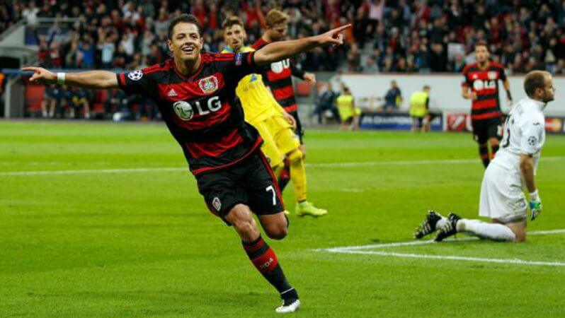 chicharito-goal-ucl-bayer-debut
