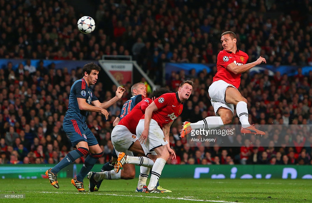 during the UEFA Champions League Quarter Final first leg match between Manchester United and FC Bayern Muenchen at Old Trafford on April 1, 2014 in Manchester, England.