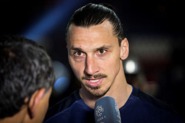 PARIS, FRANCE - MAY 14: Paris Saint-Germain's Swedish forward Zlatan Ibrahimovic talks to the media after winning the French L1 title at the end of the French L1 football match between Paris Saint-Germain (PSG) vs Nantes on May 14, 2016 at the Parc des Princes stadium in Paris, France. (Photo by Geoffroy Van der Hasselt/Anadolu Agency/Getty Images)