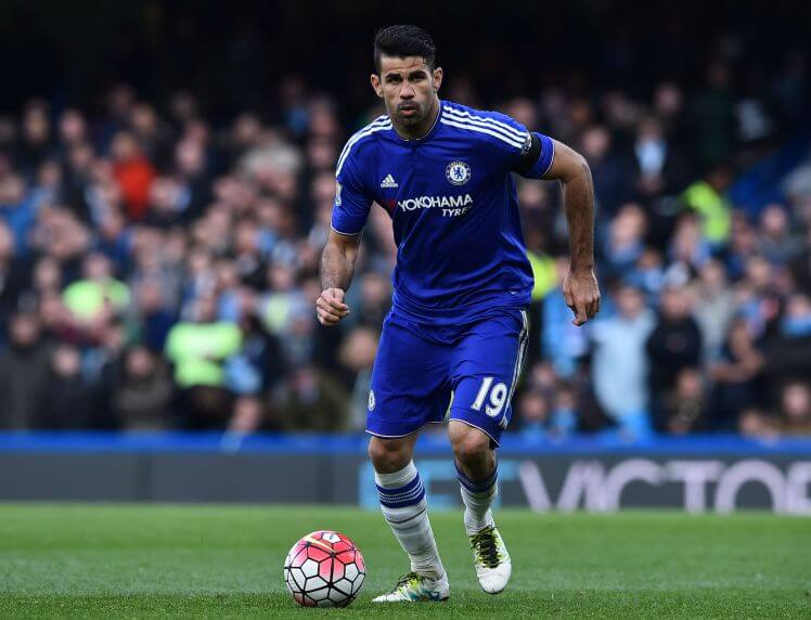 Chelsea's Brazilian-born Spanish striker Diego Costa runs with the ball during the English Premier League football match between Chelsea and Manchester City at Stamford Bridge in London on April 16, 2016. / AFP / Ben STANSALL / RESTRICTED TO EDITORIAL USE. No use with unauthorized audio, video, data, fixture lists, club/league logos or 'live' services. Online in-match use limited to 75 images, no video emulation. No use in betting, games or single club/league/player publications. / (Photo credit should read BEN STANSALL/AFP/Getty Images)