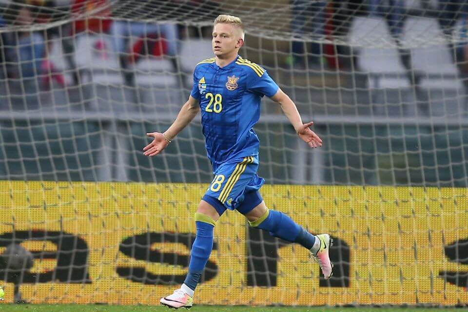 "Ukraine's forward Zinchenko Oleksandr celebrates after scoring during the international friendly football match between Romania and Ukraine at ""Grande Torino Stadium"" in Turin, on May 29, 2016. / AFP PHOTO / MARCO BERTORELLOMARCO BERTORELLO/AFP/Getty Images"