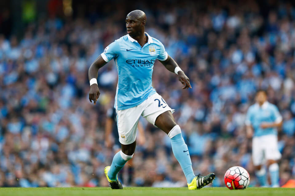 MANCHESTER, ENGLAND - SEPTEMBER 19: Eliaquim Mangala of Manchester City runs with the ball during the Barclays Premier League match between Manchester City and West Ham United at Etihad Stadium on September 19, 2015 in Manchester, United Kingdom. (Photo by Dean Mouhtaropoulos/Getty Images)