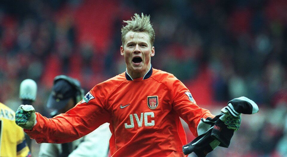 Caption: SUPER MANN ... Gunners keeper Alex Manninger shows just what the Old Trafford triumph means to the young Austrian. MANCHESTER UNITED 0, ARSENAL 1. ALEX MANNINGER AT THE END; PIC RICHARD PELHAM. 05.05.1998 - used in Sun Sport's SALUTE TO ARSENAL pullout.
