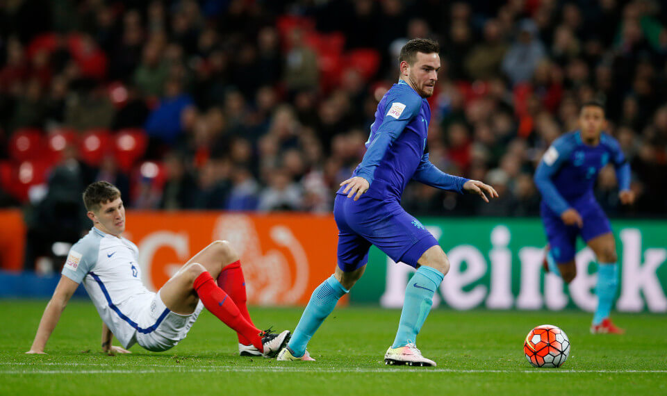 Football Soccer - England v Netherlands - International Friendly - Wembley Stadium, London, England - 29/3/16 Netherlands' Vincent Janssen in action with England's John Stones Action Images via Reuters / Andrew Couldridge Livepic EDITORIAL USE ONLY.