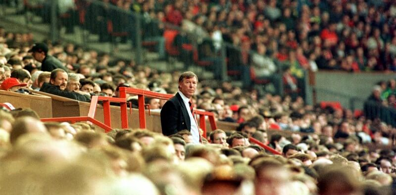 Sir Alex Ferguson standing tall at Old Trafford in the mid 1990's Picture: Richard Austin 07831 566005