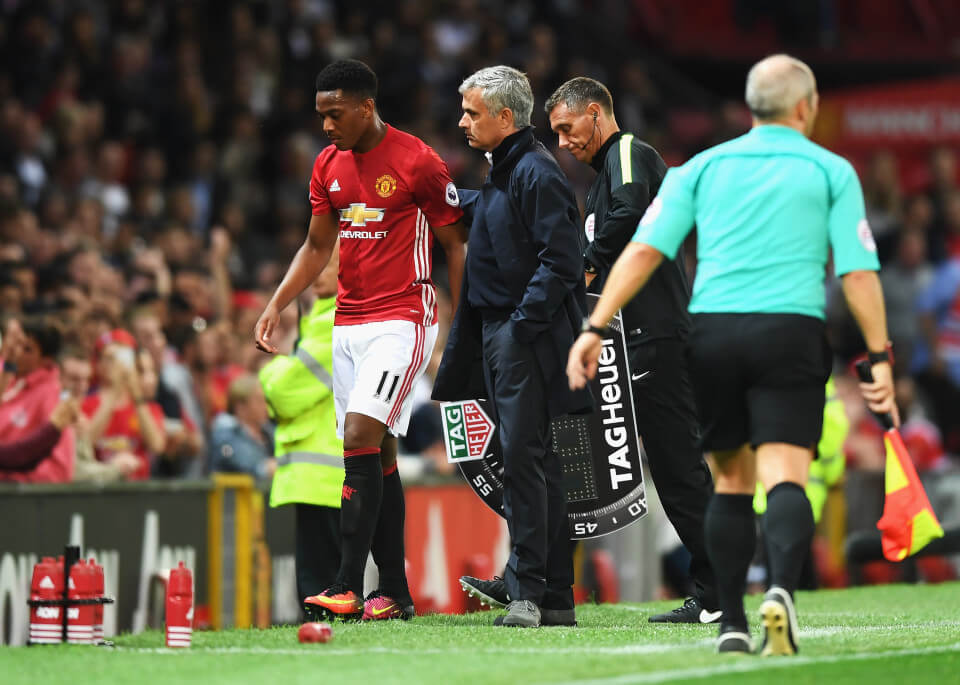 MANCHESTER, ENGLAND - AUGUST 19: Anthony Martial of Manchester United is substituted by Jose Mourinho, Manager of Manchester United during the Premier League match between Manchester United and Southampton at Old Trafford on August 19, 2016 in Manchester, England. (Photo by Michael Regan/Getty Images)