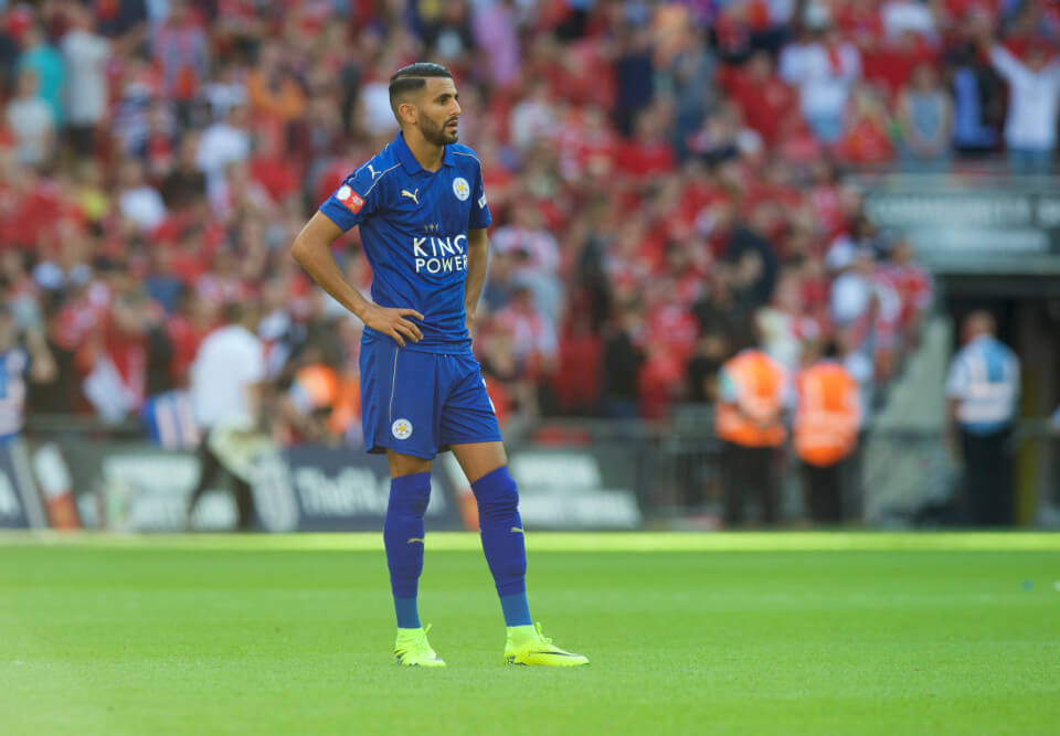 Riyad Mahrez of Leicester City looks dejected after loosing during the FA Community Shield match at Wembley Stadium, London Picture by Alan Stanford/Focus Images Ltd +44 7915 056117 07/08/2016
