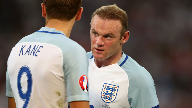 MARSEILLE, FRANCE - JUNE 11: Wayne Rooney (R) and Harry Kane (L) of England talk before a free kick during the UEFA EURO 2016 Group B match between England and Russia at Stade Velodrome on June 11, 2016 in Marseille, France. (Photo by Lars Baron/Getty Images)