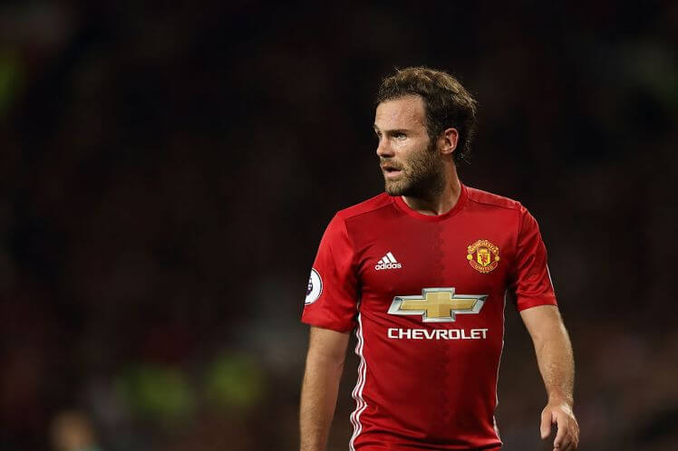 MANCHESTER, ENGLAND - AUGUST 19: Juan Mata of Manchester United during the Premier League match between Manchester United and Southampton at Old Trafford on August 19, 2016 in Manchester, England. (Photo by Matthew Ashton - AMA/Getty Images)