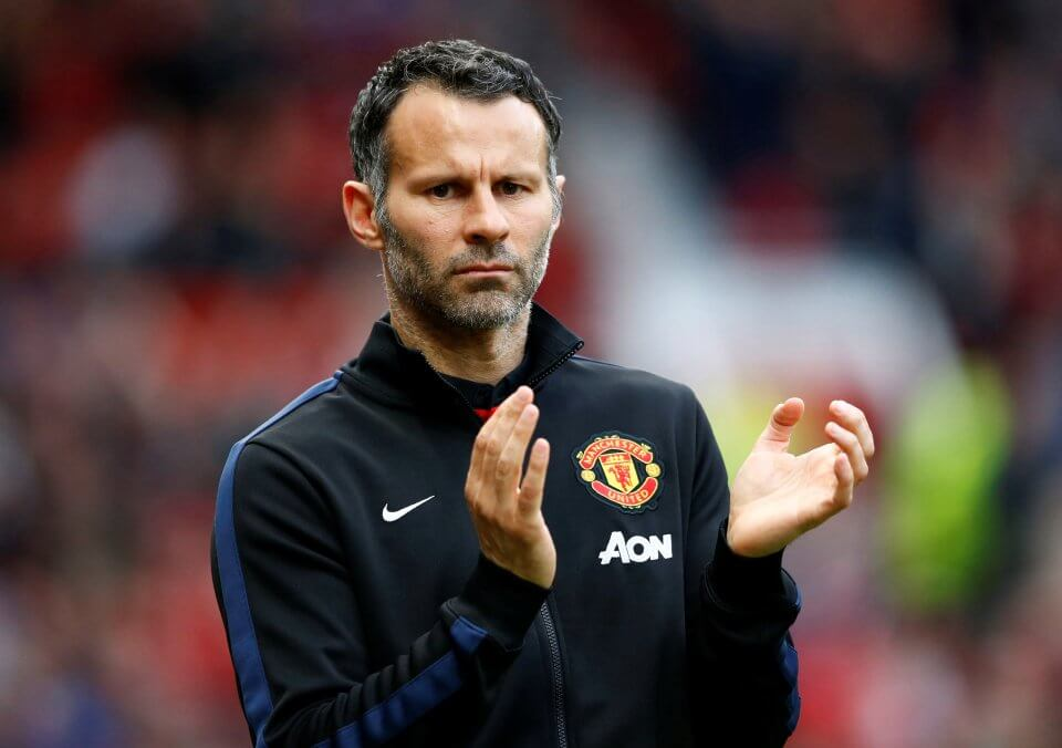 "Manchester United's interim manager Ryan Giggs reacts during their English Premier League soccer match against Hull City at Old Trafford in Manchester, northern England May 6, 2014. REUTERS/Darren Staples/File Photo FOR EDITORIAL USE ONLY. NOT FOR SALE FOR MARKETING OR ADVERTISING CAMPAIGNS. NO USE WITH UNAUTHORIZED AUDIO, VIDEO, DATA, FIXTURE LISTS, CLUB/LEAGUE LOGOS OR ""LIVE"" SERVICES. ONLINE IN-MATCH USE LIMITED TO 45 IMAGES, NO VIDEO EMULATION. NO USE IN BETTING, GAMES OR SINGLE CLUB/LEAGUE/PLAYER PUBLICATIONS"