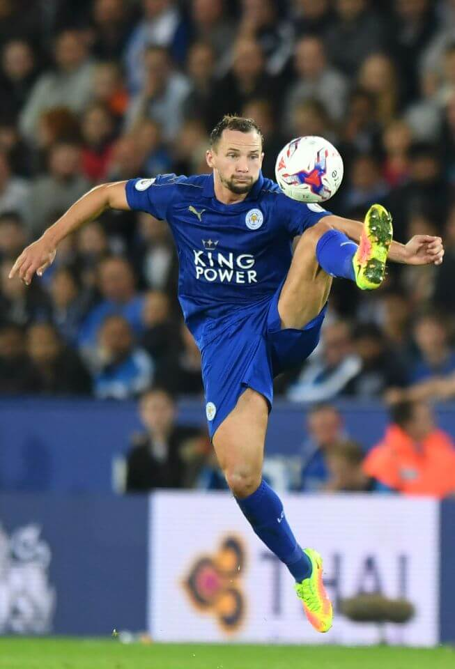 Leicester City's English midfielder Danny Drinkwater controls the ball during the English League Cup third round football match between Leicester City and Chelsea at King Power Stadium in Leicester, central England on September 20, 2016. / AFP PHOTO / Anthony DEVLIN / RESTRICTED TO EDITORIAL USE. No use with unauthorized audio, video, data, fixture lists, club/league logos or 'live' services. Online in-match use limited to 75 images, no video emulation. No use in betting, games or single club/league/player publications. / ANTHONY DEVLIN/AFP/Getty Images