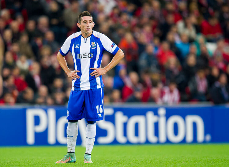 BILBAO, SPAIN - NOVEMBER 05: Hector Herreraof FC Porto reacts during the UEFA Champions League Group H match between Athletic Club and FC Porto at San Mames Stadium on November 5, 2014 in Bilbao, Spain. (Photo by Juan Manuel Serrano Arce/Getty Images)