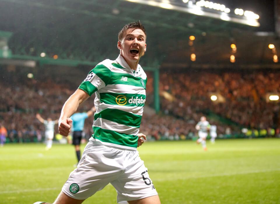 28.09.2016 Celtic v Manchester City UEFA Champions League Group C ................. KIERAN TIERNEY CELEBRATES HIS GOAL