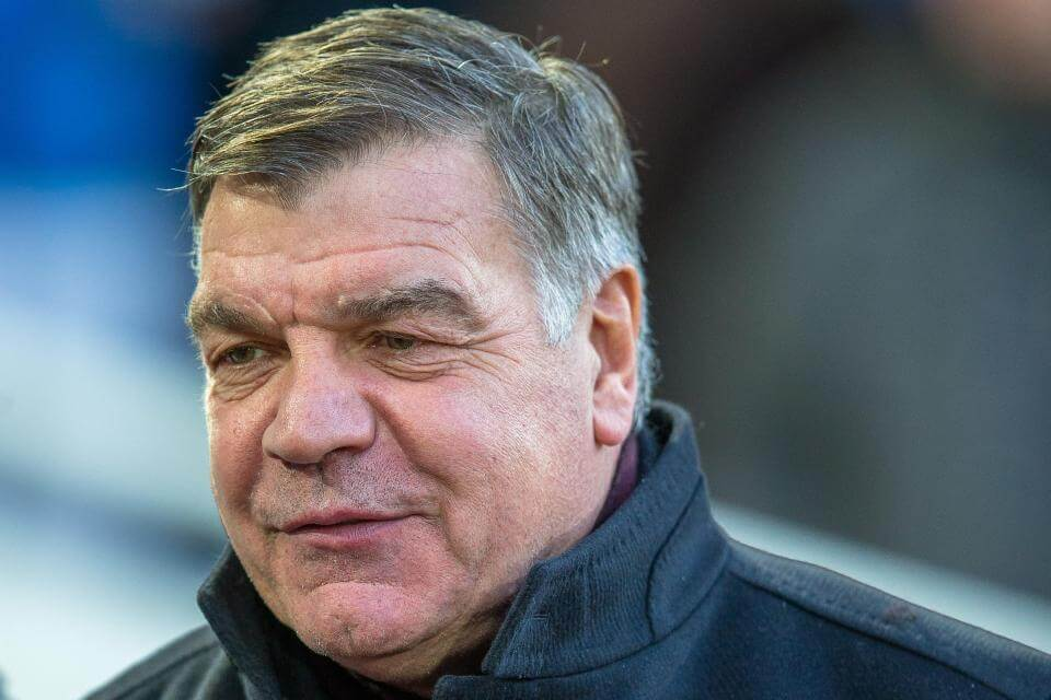 FHKY7P West Ham manager, Sam Allardyce prepares to watch his side take on Leicester FC at Upton Park on December, 20, 2014.